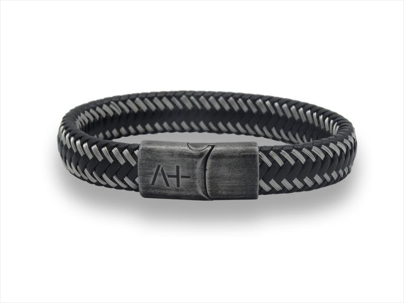 Herrenarmband M - Across - schwarz mit geflochtenem Stahl