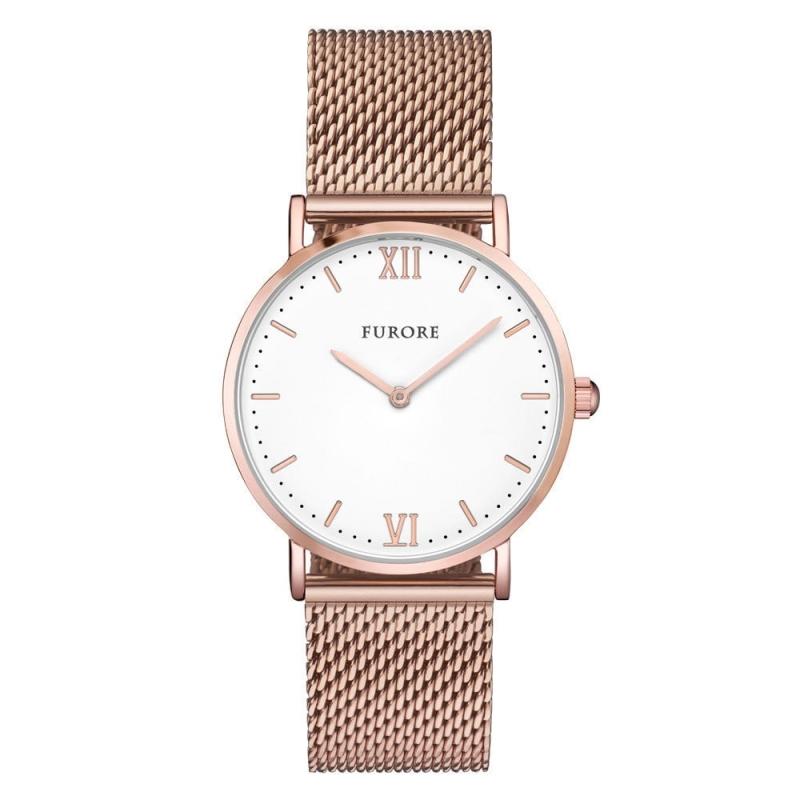 Furore Damen Armbanduhr Rosegold Maschenband