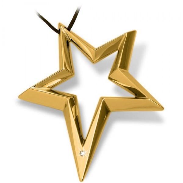 SIRIO Stern Edelstahl 18 Karat vergoldet mit natürlichem Stein von BROSWAY
