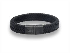 Herrenarmband L - Across - Leder Stahl - schwarz
