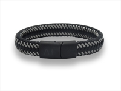 Herrenarmband L - Across - schwarz mit geflochtenem Stahl