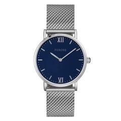 Furore Damen Armbanduhr Silber / Blau Maschenband